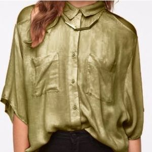 UO Silence + Noise High Low Green Button Down Top